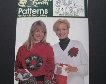 Two (2) Purr-fect Punch Iron-On Pattern Booklets for Punch Embroidery - Booklet 64279 Christmas Cheer and Booklet 64282 Fashion Florals