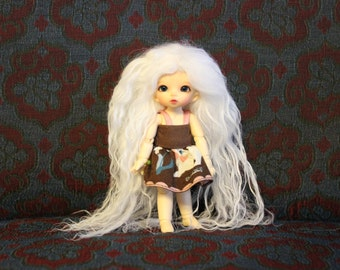 Angelic White mohair wig for HeartStrung Ruse, PukiPuki, Bjtales Phantom or Aerica