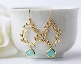 Laurel Leaves Mint Glass Matte Gold Earrings Modern Grecian Dangle