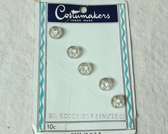 Clear Vintage Buttons with Rhinestones - Set of 5