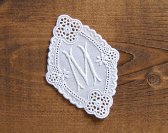 Monogramed M antique embroidered lace letter vintage embroidery monogram tag handcraft supplies handmade supply wedding gift ideas by yebisu