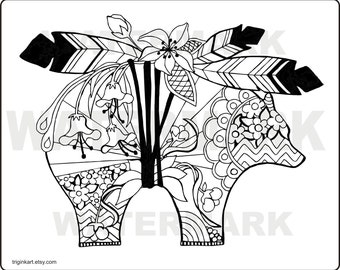 Indian Bear  Adult coloring page