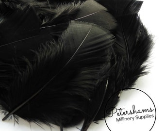 Pack of Turkey Flats Feathers for Millinery Hat Trimming and Crafts (50 Feathers) - Black