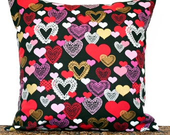 WEEKLY SPECIAL 15.00 Valentine Hearts Pillow Cover Cushion Red Pink Black White Gold Decorative 18x18