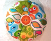 Pincushion, Modern Geometric Prints in Citrus Colors- Tomato Pincushion- Ready to Ship