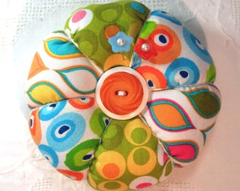 Pincushion, Modern Geometric Prints in Citrus Colors- Tomato Pincushion- Ready to Ship
