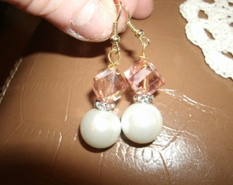 Pink and Pearl Dangles with Faux Rhinestones