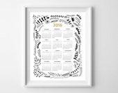 2016 Botanical Calendar illustration. 12 month calendar. Modern Wall calendar. 1 Page. Home office. 8.5 x 11 letter size. New Year. Gift