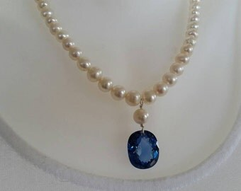 London blue topaz gemstone, quality freshwater pearl necklace, wedding,  bride
