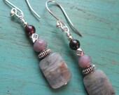 Transformation ~ Labradorite, Jasper & Garnet earrings - Bohemian style jewelry