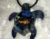 Sea Turtle Blown Glass Pendant necklace