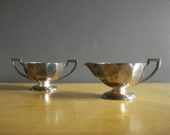 Silverplate Sugar Bowl and Creamer - Vintage Silver Plate Benedict Mini Vases with Handles
