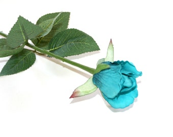 12 Turquoise Gina Rose Buds - Barely Blooming - Artificial Flowers, Silk Roses - PRE-ORDER