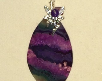 Wire Wrapped Agate Cab with Fairy