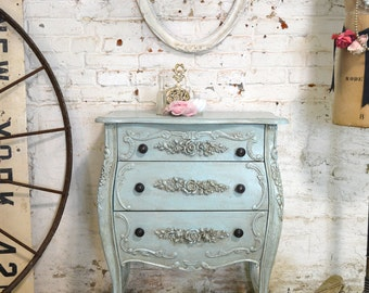Painted Cottage Chic Shabby Romantic French Bombay Night Table NT829