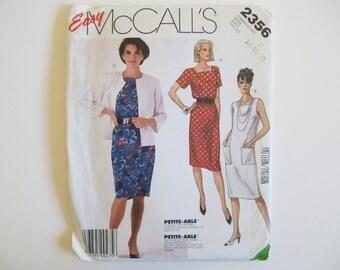 McCall's 2356 Dress and Jacket Pattern, Uncut, Sizes 16, 18, 20