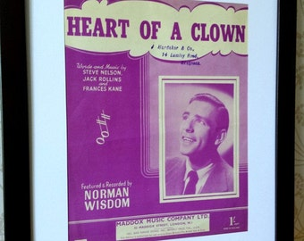 Picture framed vintage/retro sheet music - Norman Wisdom, Heart of a Clown (FREE P&P)