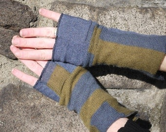 Green and Blue stripes  Cashmere gloves - armwarmers-Fingerless - recycled cashmere- upcycled accessories- texting gloves- soft gloves