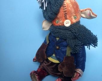 Birthday Sale 10 inch Artist Handmade Plush Fifer Pig by Sasha Pokrass