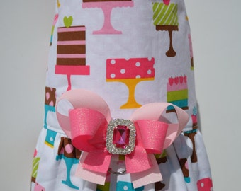 Dog Harness Vest with Ruffle - I Love Cake
