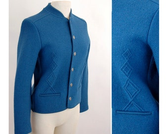 1980s boiled wool jacket silver buttons boiled wool sweater Loffler Fitted jacket Size US Small Euro 38