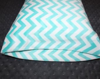 "Light Blue Plush Small Pillowcase- Soft N Comfy Pillowcase for 12""x16"" Pillow - Toddler Pillowcase- Chevron Pillowcase- Girl Nap Mat- Travel"
