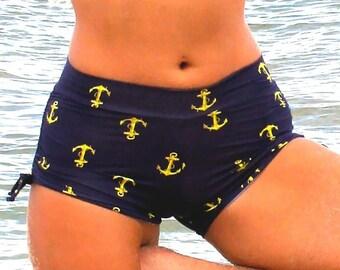 Drawstring side Yoga Shorts in Nautical Anchor print
