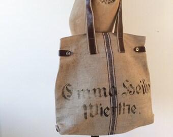 Vintage grain sack, stencilled tote bag