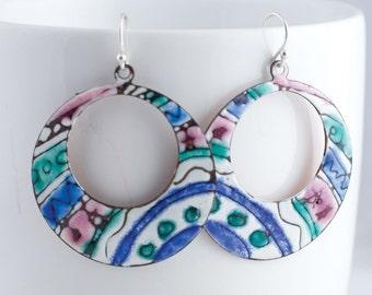 Striped Blue Green and Pink Enamel Hoop Earrings - OOAK