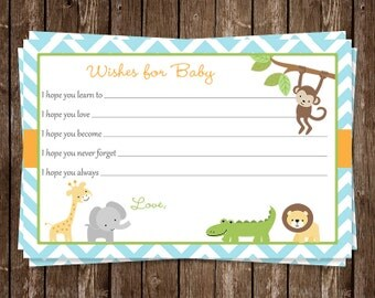 Jungle, Animals,  Wishes for Baby, Shower, Blue, Boys, Chevron, Stripes, 24 Printed Cards, FREE Shipping, WWEBL, Wild With Excitement