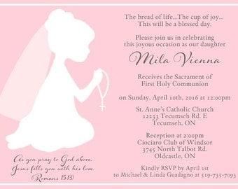 Praying Girl Silhouette, Invitations, Rosary, Pink - 10