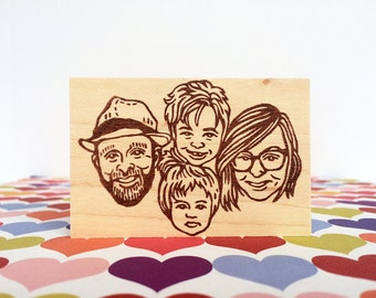 Family portrait stamp/ Face stamp/ Custom portrait stamp/ Christmas card/ Christmas gift/ Any texts on rubber stamp for FREE