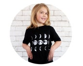 Moon Phases Graphic Tee Shirt, Youth Clothing, Toddler Tee Shirt, Astronomy, Astrology, Outer Space, Black and White, Hand Screenprinted top