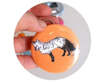 Bottle Opener OR pinback Button  with Fancy fox, Key chain, in orange or custom colors, Great stocking stuffer, Flair, badge