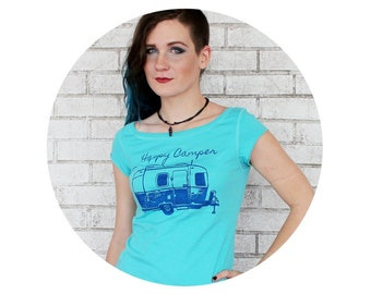 Happy Camper Boatneck Tshirt, READY to SHIP size XL, Junior Fit, Gift For Teen , Cap Sleeved, Camping outdoors Nature Light Turquoise Blue