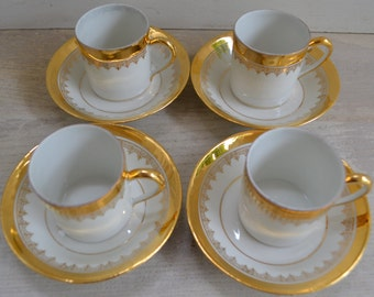 Set of Four Porcelain Expresso Cups/Saucers - French Faded Shabby Romance