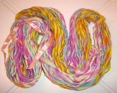 Handspun Wool Yarn - Merino Fiber - Fruit Stripe Gum - 62 Yards