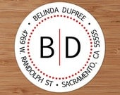 Simple Dotted Initials Monogram - Custom Address Labels or Stickers