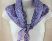 Womens Silk Square Scarf, Recycled Sari Neck Scarf, Head Scarf, Lilac Abstract Patterned Scarf