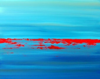 """Abstract Painting, """"Expansion"""" by Bryan Dubreuiel, Original Art Painting, Search, Acrylic, blue, green, minimalism, Art, google, 36 by 24"""