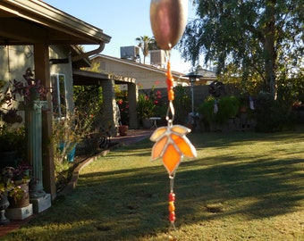 Stained Glass Mobile with Autumn Leaf - Orange - Handmade - Window Decor - Christmas - Birthday - Leaf - Suncatcher
