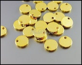 4 small 8mm circle blank discs for stamping (shiny gold), circle charms, disc charms, stamping blanks 1984-BG-8