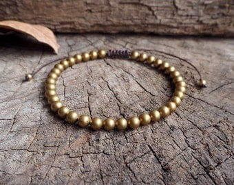 Brass Beads Unisex Knot Anklet, 6mm