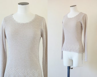 Nude sweater   crochet neutral knit top   1990's by Cubevintage   small