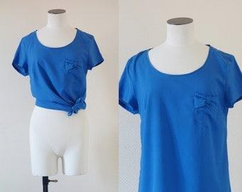 Blue silk blouse | 1990's by Cubevintage | medium