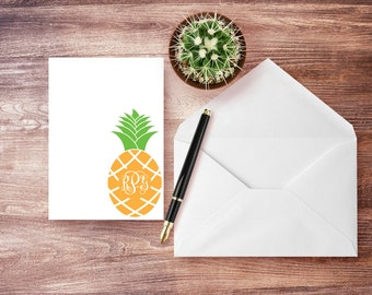 Personalized - PINEAPPLE - Note Cards - Personalized Family Stationery - Stationery Set - Monogram Stationery