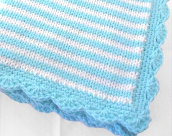 Knitted Baby Blanket in thin stripes of aqua blue and white with scalloped border / unisex baby blanket / aqua color nursery