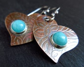 Bronze and amazonite earrings, heart earrings, blue gemstone, bronze anniversary gift, 8th wedding anniversary, valentine's gift, oxidized