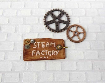 Driftwood steampunk sign in 1:12 scale