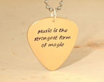 bronze guitar pick necklace with inspirational quote - NL333